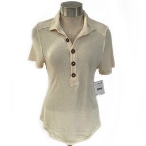 NWT FREE PEOPLE White Sands Short Sleeve Polo M
